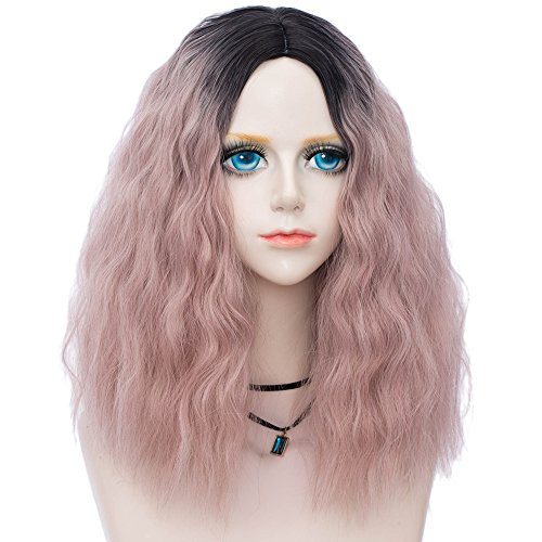 Probeauty Fairy Collection Ombre Dark Root 45CM Long Curly Women Lolita Anime Cosplay Wig (Ash Pastel Pink) -