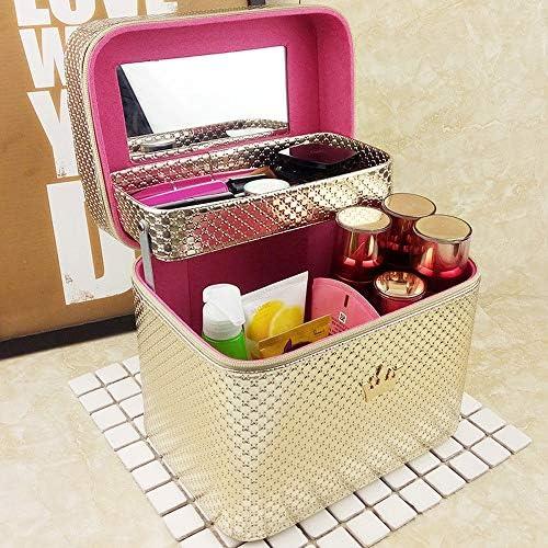 化粧品袋 容量の大きいポータブルメイク女性のためのボックストラベルコスメティックオーガナイザー 旅行化粧収納ボックス (Color : Gold, Size : 24x18x21cm)