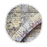 KESS InHouse Susan Sanders Painted Grunge Brick Wall Grey Yellow Round Beach Towel Blanket