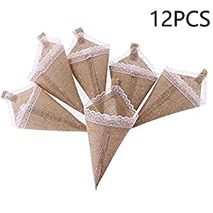 EBTOYS 12pcs Hanging Burlap Lace Flower Basket Pew Cone Wedding Home Decoration DIY Birthday Baby Shower Wedding Decoration 17