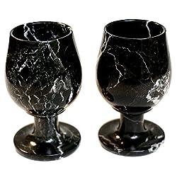 RADICALn Kitchen Decor Marble Wine Glasses 5.4 Oz 5 x 3 inches - Set of 2 Wine Glasses Table Ware (Black)