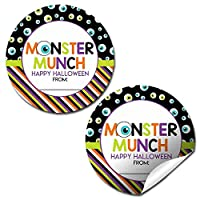 Monster Munch Halloween Thank You Sticker Labels, 40 2″ Party Circle Stickers by AmandaCreation, Great for Party Favors, Envelope Seals & Goodie Bags