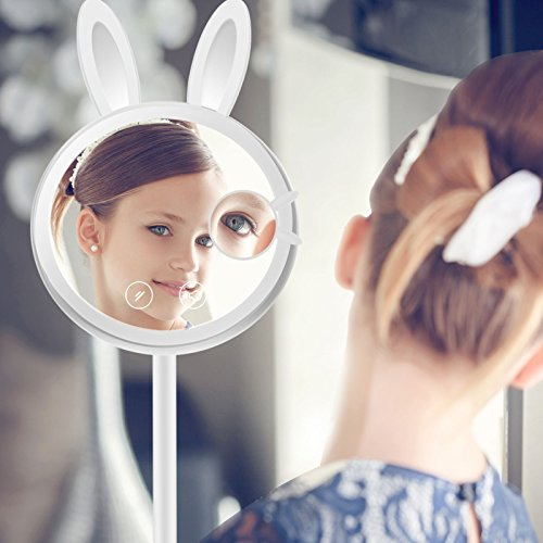 LED Lighted Makeup Mirror, Rabbit-shaped Foldable Vanity Mirror, Table Lamp and Night Light 3 in 1, Touch Screen Dimming, Magnetic Detachable 7X Magnification Spot Mirror for Cosmetic, Reading, Travel by Dreld