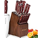 Knife Set, 15-Piece Kitchen Knife Set with Oakwood Block Wooden, Manual Sharpening for Chef Knife Set, German Stainless Steel, Emojoy