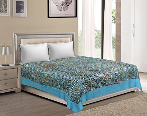 Vaibhav International Multicolor Mirror Work Cotton Double Bedsheet by Vaibhav International