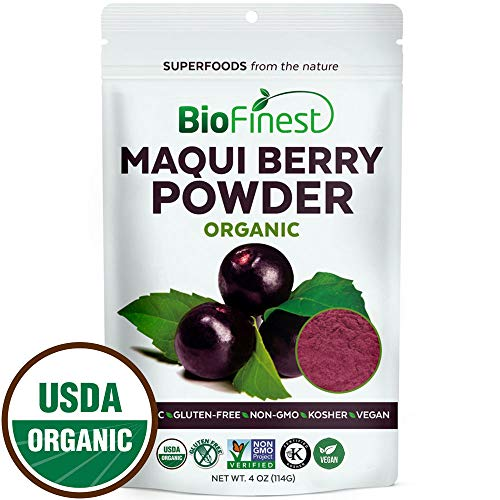 Biofinest Maqui Berry Juice Powder - 100% Pure Freeze-Dried Antioxidants Superfood Extract - Organic Vegan Raw Non-GMO - Boost Digestion Weight Loss - For Smoothie Beverage Blend (4 oz Resealable Bag)
