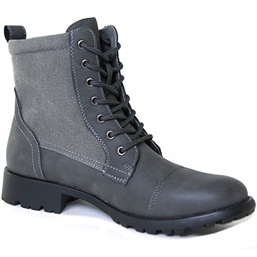 Soles Canvas (Alpine Swiss Men's Combat Boots Lug Sole Canvas Trim Field Shoes Gray 7 M US)