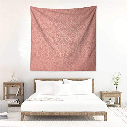 (Willsd Peach Decorative Tapestry Lace Style Background with Antique Wedding Inspiration Motifs Ornamental Vintage Design Literary Small Fresh 32W x 32L INCH Coral)