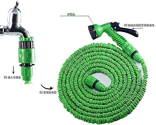 HLJ Garden Hose Flexible Expandable Garden Hose, Latex Tube Magic Anti-leakage Pipe Plastic Lightweight Hoses with Leak-proof Fittings for Washing Car Gardening