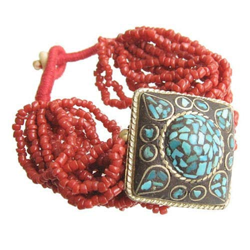 - Large Tibetan 16 Red Coral Beaded Strands Turquoise Inlay Brass Slip Bracelet #ID-223