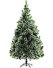HOMCOM 7FT Christmas Tree Artificial Classic Tree Holiday Indoor Decoration, with Mental Support 968 Tips, Green