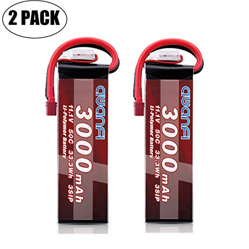 AWANFI 11.1V 3S Lipo Battery 3000mAh 50C Deans T Plug for RC FPV Helicopter Airplane RC car RC Truck RC Boat Drone Hobby DIY Toy Car(2 Pack)