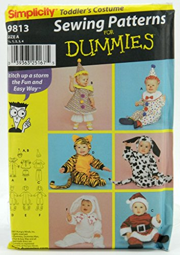 Simplicity 9813 Toddler's Costumes - Sewing Patterns for Dummies Size A - 1, 2, 3, 4