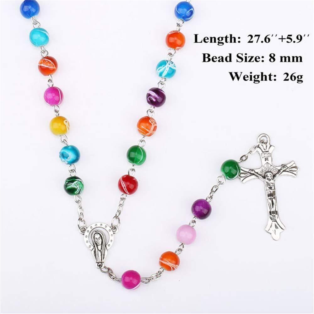 Tradizionale WomenCatholic Rosario Perle Ges/ù Croce Ciondolo Strand accessori Costume NecklaceCharming