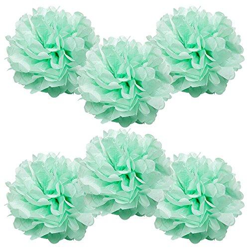 "WYZworks Set of 6 - SEAFOAM GREEN 16"" - Tissue Pom Poms Flower Party Decorations for Weddings, Birthday, Bridal, Baby Showers Nursery Décor"