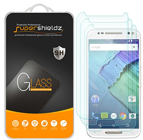 [3-Pack] Supershieldz for Motorola Moto X Pure Edition / X Style Tempered Glass Screen Protector, Anti-Scratch, Anti-Fingerprint, Bubble Free, Lifetime Replacement Warranty