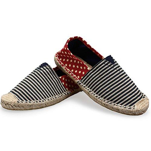 Vogstyle Unisex Adulto Zapato Flats Ballerinas Slip-On Zapatos de Lona Estilo 3-Azul