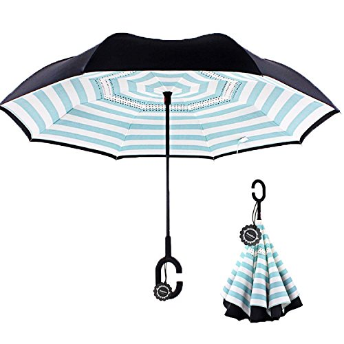 Monstleo Inverted Umbrella,Double Layer Reverse Umbrella for Car and Outdoor Use by, Windproof UV Protection Big Straight Umbrella With C-Shaped Handle and Carrying Bag Grip On Driver