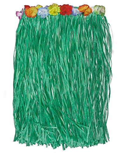 Loftus Hawaiian Green Grass Hula Table Skirt W Flowers Luau Party Decor, 9' L]()