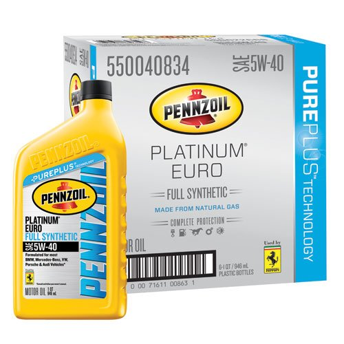 Pennzoil 550040834-6PK Platinum Euro SAE 5W-40 Full Synthetic Motor Oil - 1 Quart, (Case of 6) - Pennzoil Synthetic Blend