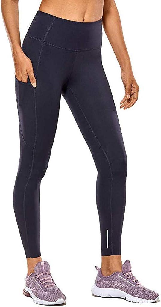 Toraway Womens High Waist and Tight Fitness Yoga Pants Nude Hidden Pocket Yoga Pants Women Exercise Pants