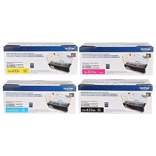 Brother MFC-L8900CDW (TN-433) High Yield Toner Cartridge Set - Black 4,500 /Color 4,000 Yield