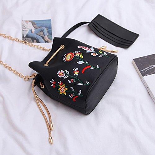 Purse Bucket PU Satchel Women's Embroidered Black Chain Bag Handbag Oblique Fashion Floral HAUTE Black Shoulder Leather Bag LA q1Xw6SE1