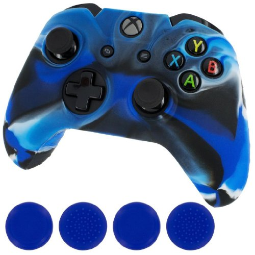 Silicone Skin Protective Cover for XBOX One Controller [Camouflage Blue + Blue Caps] (Blue Xbox Controller Stick Covers compare prices)