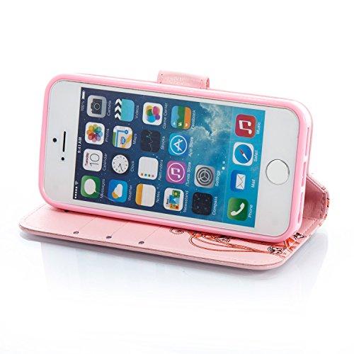 Para iPhone 5 5S 5G / iPhone SE funda, (azur) Narcisos caja del teléfono de la PU patrón en relieve ,Función de Soporte Billetera con Tapa para Tarjetas correa de mano soporte para teléfono rosa