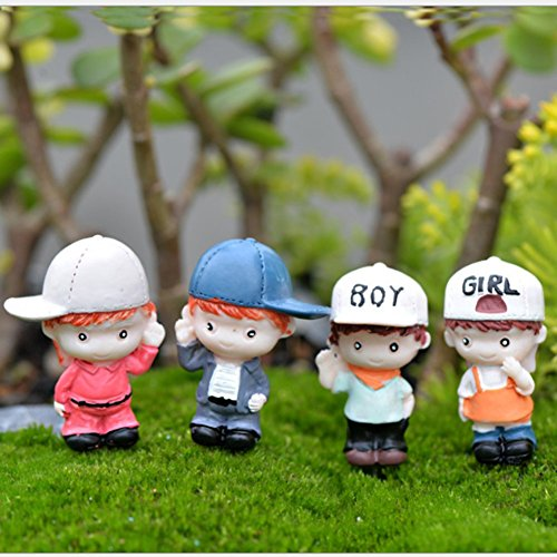 LU2000 Aquarium Decor Minifigures Small Size Micro Figurines Statue Baseball Teenagers [Autumn Series] for Micro Landscape Desk Home Decoration Little Statue Mini Sculpture Pack of 4