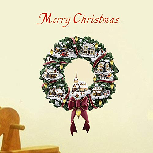 YUGHGH Christmas Window Clings, Christmas Tree Window Sticker, Giant Reusable, for Window Glass Mirror Decorations Ornament Xmas Holiday Party Supplies (C#Red, 1PC)