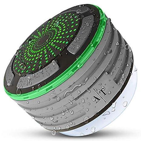 Shower Speaker, Auto Tech Waterproof Bluetooth Speaker, FM Shower Radio, Mic, and
