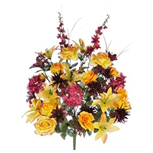 House of Silk Flowers Artificial 30-inch Yellow/Burgundy Lily/Rose/Daisy/Hydrangea Bush 94