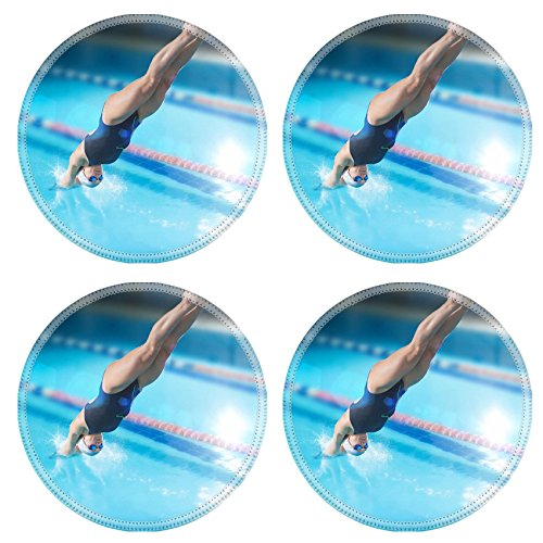 Luxlady Round Coasterss IMAGE ID 31322406 Portrait of a female swimmer that jumping and diving into indoor sport swimming pool