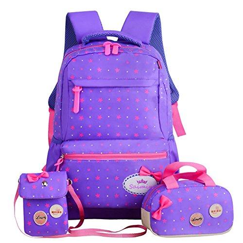 FOLLOWUS Kids Backpacks Girls School Backpack Purse Lunch Bag 3 in 1 (Purple)