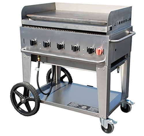 Crown Verity CVMG36 36'' Liquid Propane Mobile Grill with 79500 BTU Capacity Removable Stainless Steel Grease Tray with Two 14'' Wheels and Two Total Lock Casters in Stainless by Crown Verity