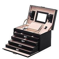 SONGMICS Black Jewelry Box Lockable Jewelry Case Faux Leather Mirrored Storage Organizer UJBC001