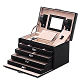 SONGMICS Black Jewelry Box Lockable Jewelry Case Faux Leather Mirrored Storage Organizer UJBC001
