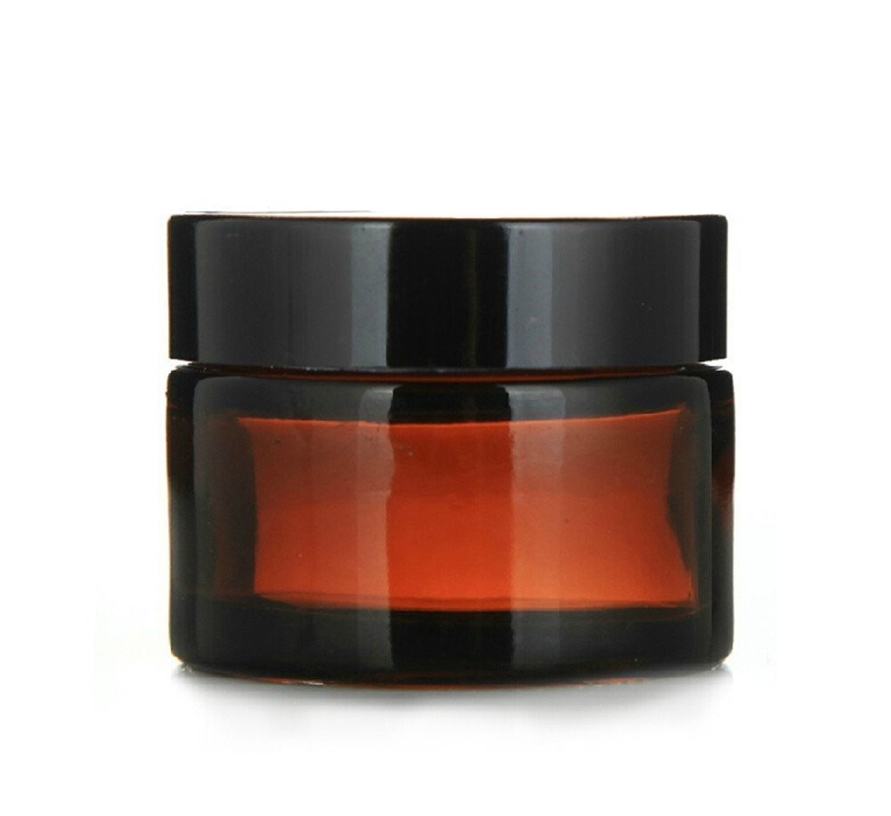 4pcs 1oz 30ml Empty Amber Glass Straight Sided Jar Cosmetic Containers Jars Plastic Black Lid Upstore