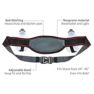 Hydration Belt for Women & Men - Ideal for Exercise, Runners & Trail Hikers - Running Pack with Phone Pouch for iPhone 6 Plus & More - Includes 2, 10oz Water Bottles