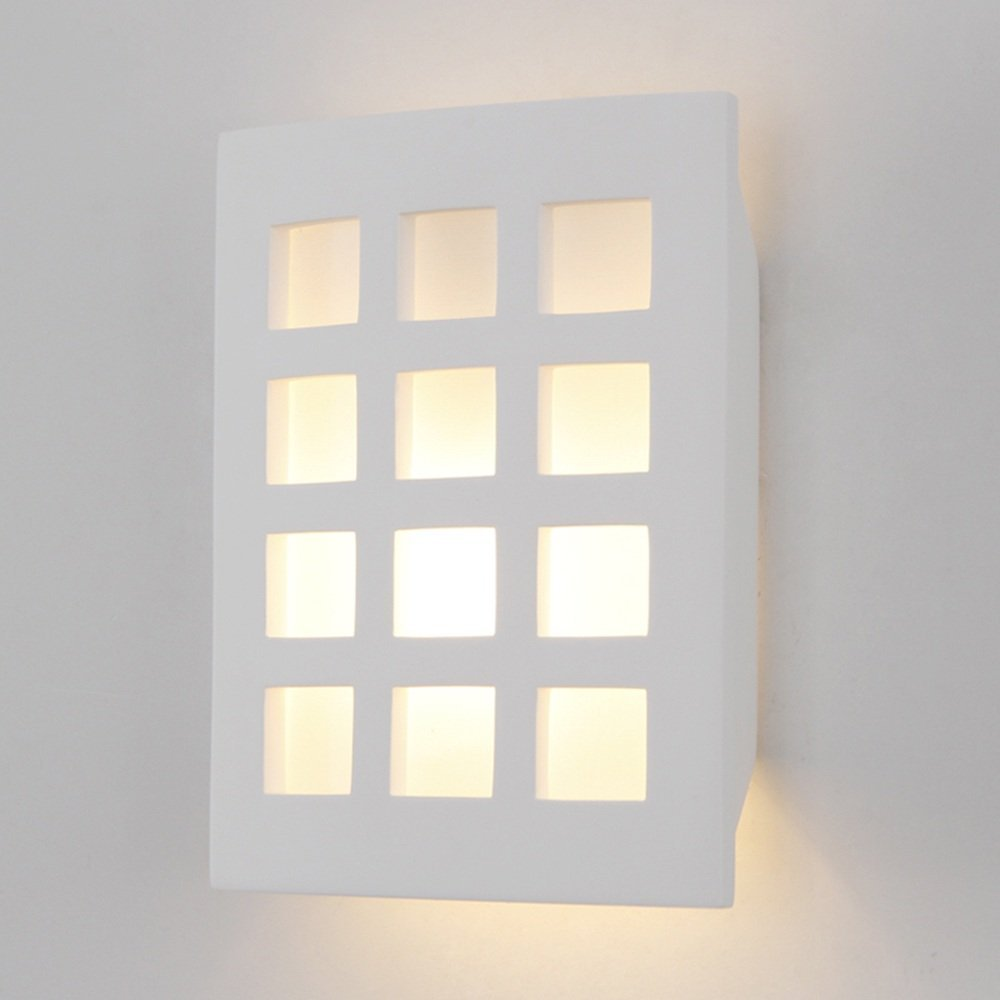 HOMEE Wall lamp- modern simple rectangular gypsum wall lamp nordic living room study bedroom bedside wall lamp --wall lighting decorations by HOMEE
