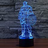 3D Illusion LED Night Light,7 Colors Gradual Changing Touch Switch USB Table Lamp for Holiday Gifts or Home Decorations(Captain America Model)