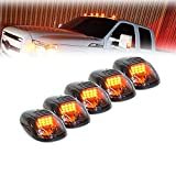 Xprite Newest Version 5pcs 12 LEDs Amber LED Cab Roof Top Marker Running Clearance Lights For Ford Truck SUV Pickup 4x4 (Black Smoked Lens Lamps)