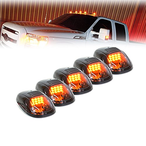 Truck cab lights amazon xprite newest version 5pcs 12 leds amber yellow led cab roof top marker running clearance lights for ford dodge truck suv pickup 4x4 black smoked lens sciox Choice Image