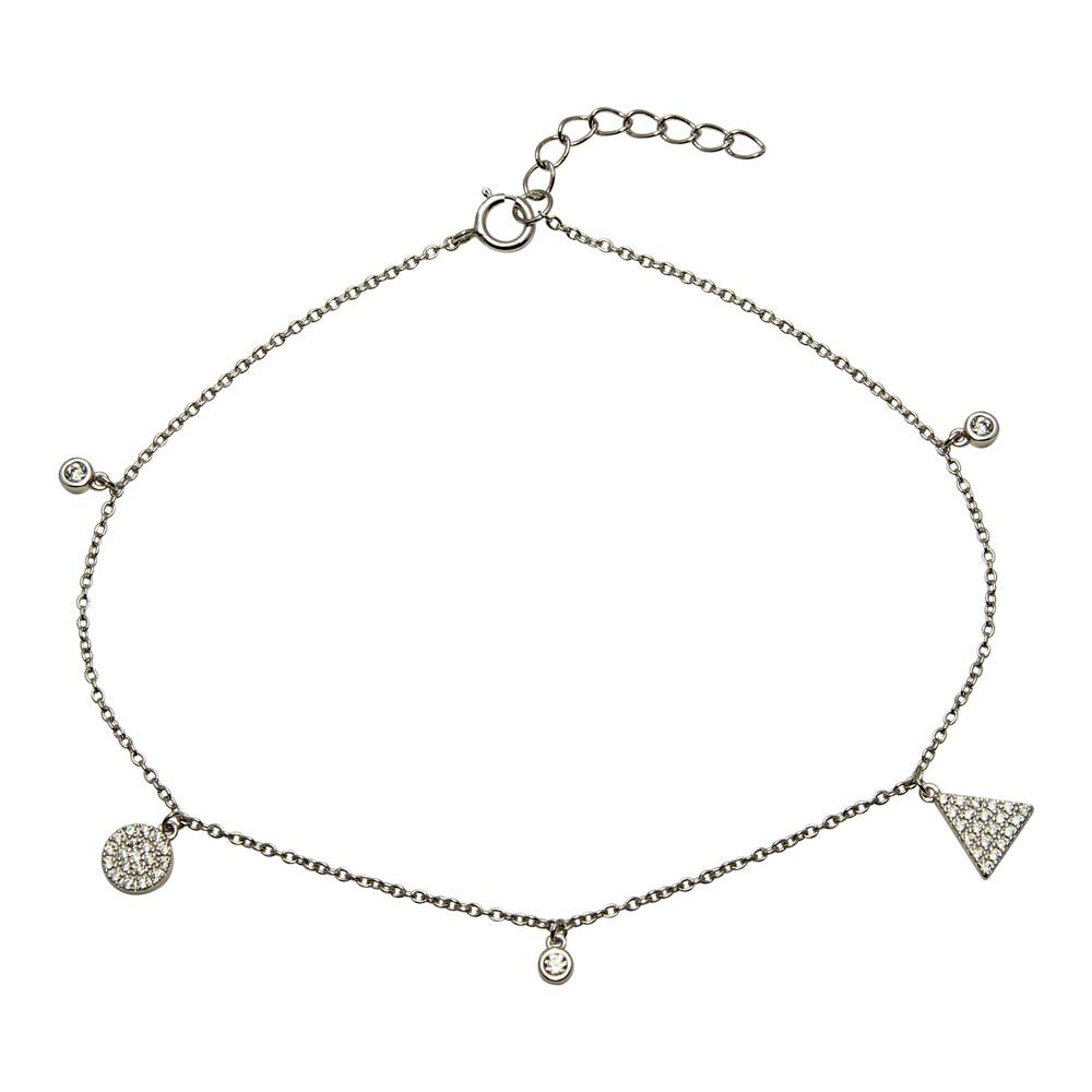 CloseoutWarehouse Clear Cubic Zirconia Circle and Triangle Charm Anklet Rhodium Plated Sterling Silver