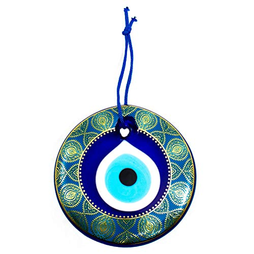 - Erbulus Turkish Glass Evil Eye Wall Hanging Gold Patterned Turquoise Ornament - Home Protection Charm - Wall Decor Amulet