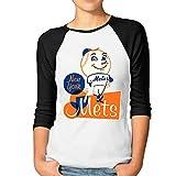 ElishaJ Women's New York Mascot Baseball 3/4 Raglan Sleeves Baseball Tshirts Black XL