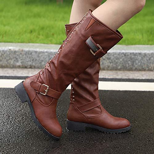 Martin Boots Ladies High Womens Long Shoes Boots Cowboy Brown Riding Rivet Roman Knee THq8zpx