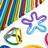 Peradix Soft Building Sticks DIY Toy Stackable Flexible Folding Bending Interlocking Colorful Straw Stem Bar Set for Fine Montor Skill Imagination Education with Storage Bag