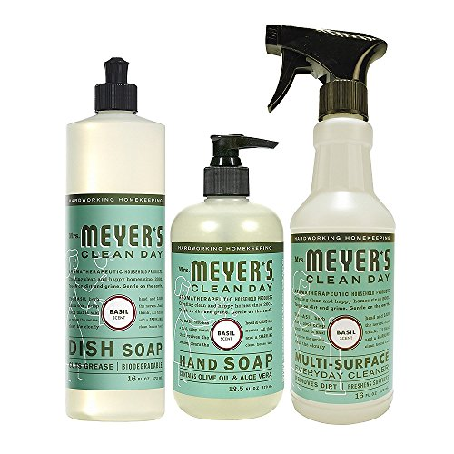 Mrs. Meyers Clean Day Kitchen Basics Set, Basil, Includes: Dish Soap (16 fl oz), Hand Soap (12.5 fl oz), Multi-Surface Everyday Cleaner (16 fl oz)